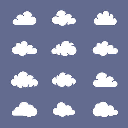 cloud shape: Cloud shape icon collection. White clouds on blue background. Simplus series