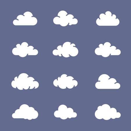 simplus: Nube colecci�n de iconos de la forma. Nubes blancas sobre fondo azul. Serie Simplus Vectores
