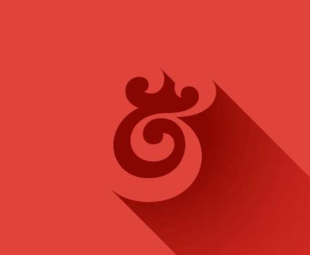 ampersand: Custom ampersand with a long shadow. Hand drawn ampersand symbol. Vector illustration Illustration