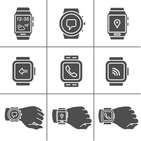 gps device: Collection of smartwatches. Smartwatch icons. Vector illustration. Simplus series Illustration