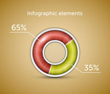 Infographic. Pie chart, round progress bar on blue background with blue-green indicator. Vector