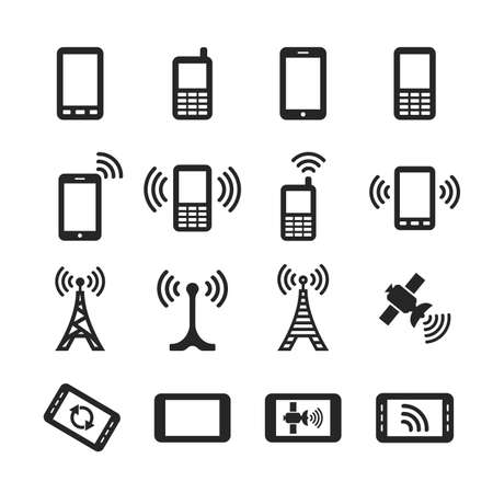 wireless technology: Mobile devices and wireless technology. Simplus icons series. Raster version Stock Photo