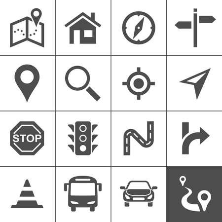 simplus: Planificaci�n de rutas y el transporte conjunto de iconos. Mapas, posicionamiento y navegaci�n iconos. Ilustraci�n del vector. Serie Simplus Vectores