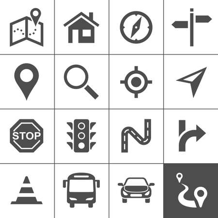 positions: Route planning and transportation icon set. Maps, location and navigation icons. Vector illustration. Simplus series