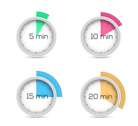 cronometro: Conjunto de temporizadores - cinco, diez, quince y veinte minutos Vectores