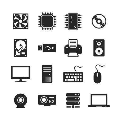 Computer Hardware Icons. PC Components. Raster version photo