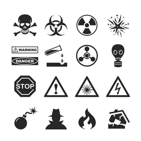infectious waste: Danger and warning icons. Raster version Stock Photo