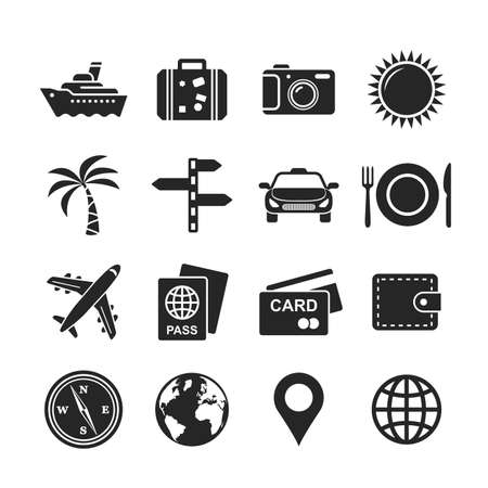 car rent: Travel and tourism icon set. Raster version Stock Photo
