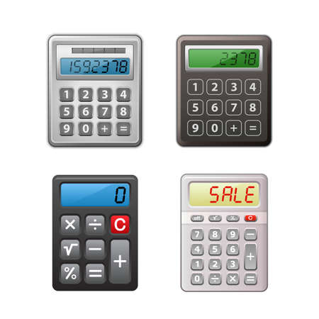 reckoning: Calculator collection. Detailed vector illustrations Illustration