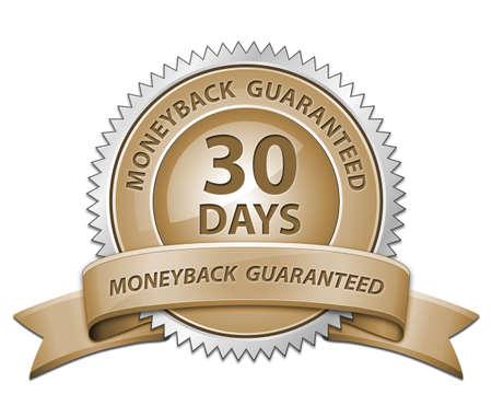 30: 30 Day Money Back Guaranteed Sign. Raster version Stock Photo