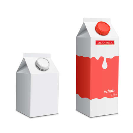 Collection of milk boxes. Milk carton with screw cap Vector