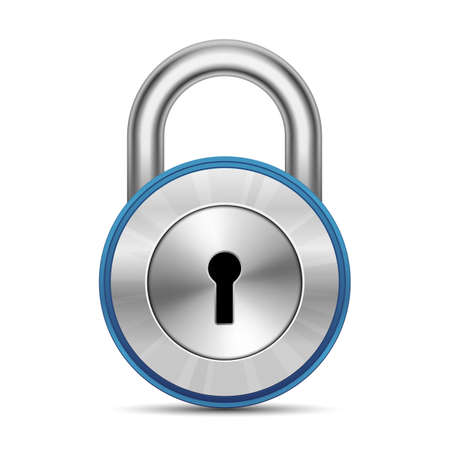 hardware store: Chrome glossy padlock. Security Concept. Vector Illustration