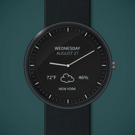 chronograph: Smart watch interface template. Weather forecast smartwatch mockup.