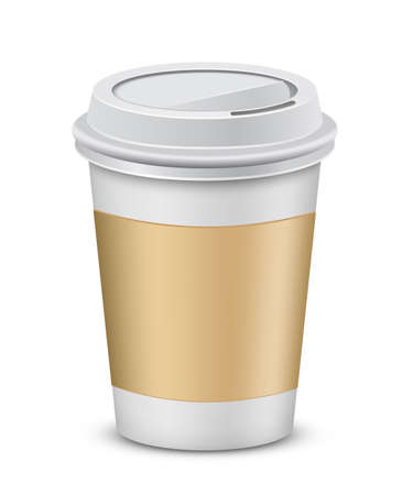Coffee to go. Plastic coffee cup with lid.  Vector