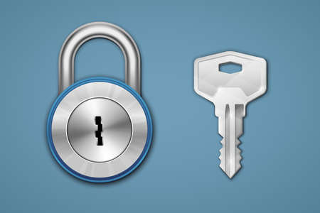 Steel padlock and key on blue background. Security concept.