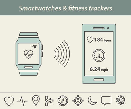 bpm: Fitness tracker and smartwatch icons. Smartwatch or fitness tracker connect to smart phone