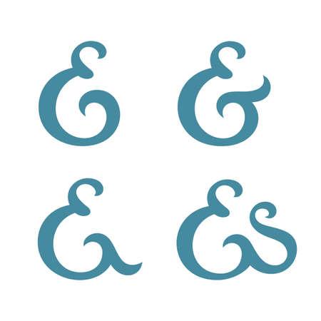 orthographic symbol: Custom ampersand collection.  Illustration