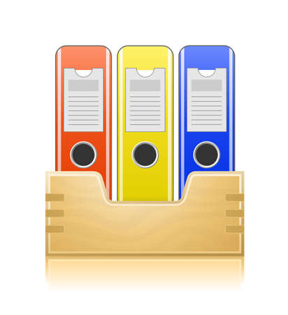 repository: Office folders in wooden box. Office documents.