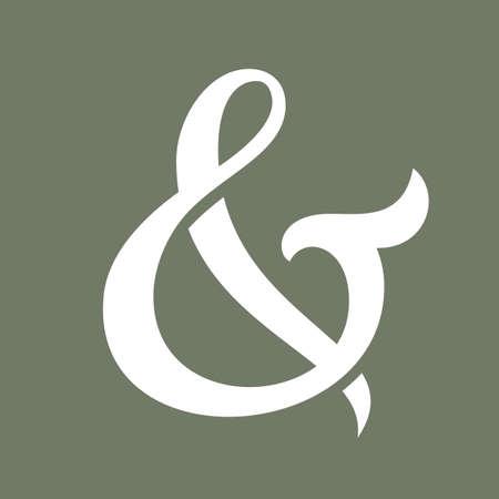 ligature: Custom ampersand. Hand drawn ampersand symbol for wedding invitation. Vector illustration