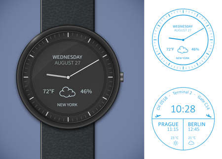 wrist watch: Smart watch application template. Weather forecast and airport departures app template