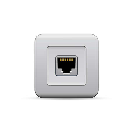 network port: Network ethernet port. Network router or switch icon. Illustration