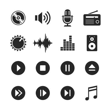 Music and sound icons. Raster version. Simplus series Stock Photo
