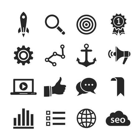Search engine optimization, internet marketing icons. Raster illustration. Simplus series illustration