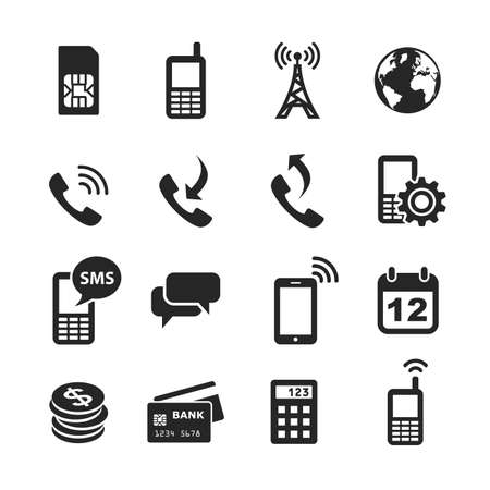 wireles: Mobile account management icons. Simplus series. Raster illustration