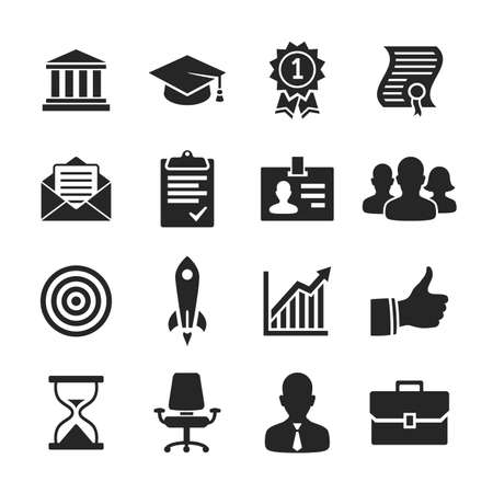 Business career icons. Raster illustration. Simplus series Stock Photo