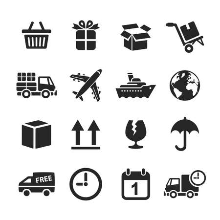 simplus: Logistic & delivery icons. Raster illustration. Simplus series