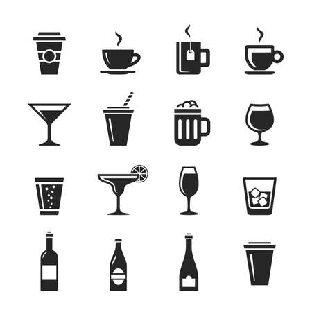margerita: Drinks and beverages icon set. Simplus series. Raster illustration