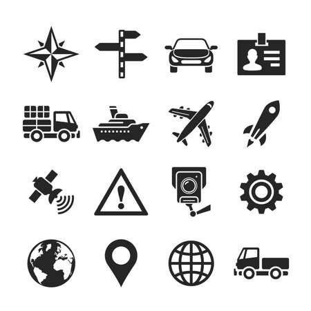 rackwheel: Transportation icons. Raster illustration. Simplus series