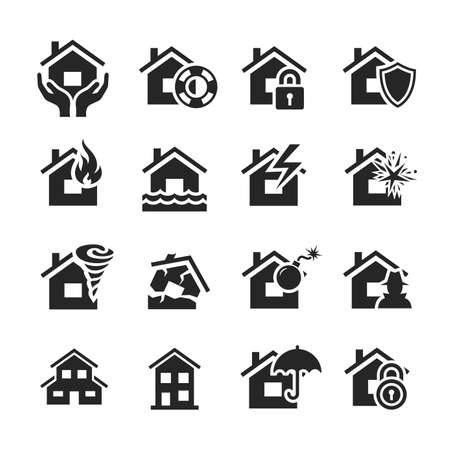 Property insurance icon set. Raster illustration. Simplus series illustration