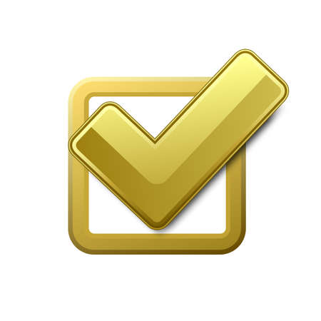 Yellow check box with check mark Illustration