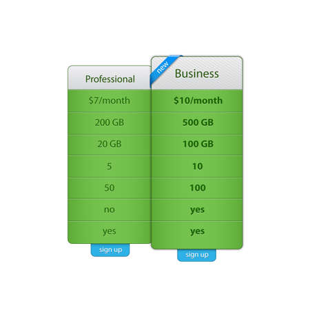Price table template for hosting company.  Vector