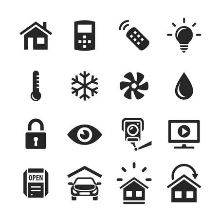 home automation: Smart Home and Smart House Icons  Home automation control systems  Simplus series raster icons Stock Photo