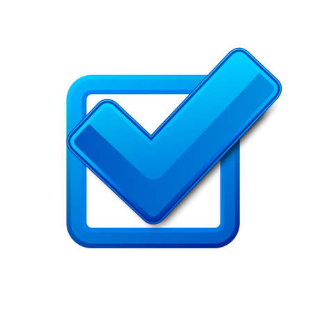blue box: Blue check box and check mark  Vector illustration