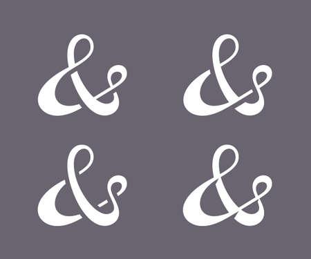 typography signature: Colecci�n de los s�mbolos de uni�n de decoraci�n personalizada para la invitaci�n de boda a mano pulido ilustraci�n tipo dibujado Vector Vectores