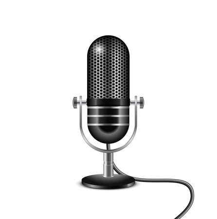 air show: Retro microphone with wire  Vector illustration