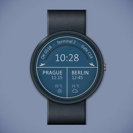 chronograph: Airport arrivals and departures smartwatch mockup  Smart watch interface template  Vector illustrations