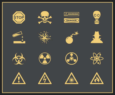 infectious waste: Danger and warning icons  Vector illustration of attention and hazrd
