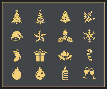 hubcap: Christmas and New Year Icon Set  Merry Christmas and Happy New Yera vector icons