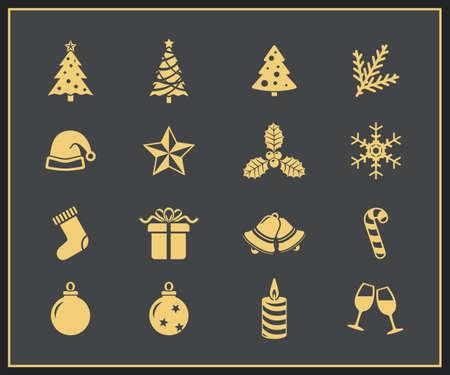 campanas de navidad: Iconos vectoriales de Navidad y Año Nuevo Icon Set Feliz Navidad y Feliz Nuevo Yera