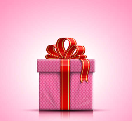 Valentine gift box with red ribbon and bow on pink background  Vector illustration