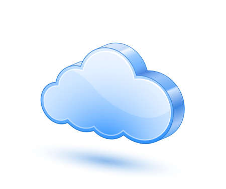 cloud hosting: 3D blue glossy cloud icon  Vector illustration