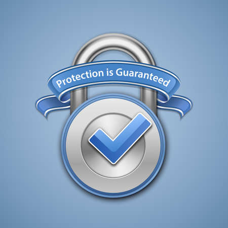 reliably: Protection guaranteed sign  Security Concept  Your Protection Is Guaranteed  Illustration