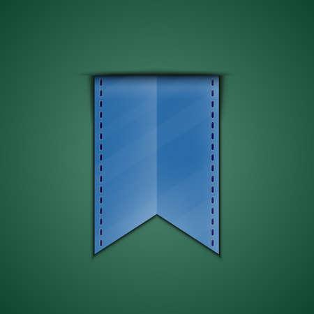 Blue bookmark decoration ribbon on green background illustration of blue silky ribbon Illustration
