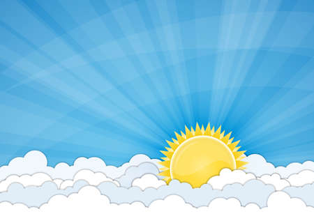 nice day: Sun and white clouds over blue sky illustration Illustration
