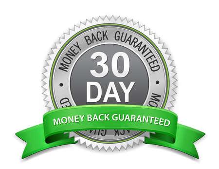 Signe d'argent de 30 jours suivant l'étiquette de retour garanti garanti