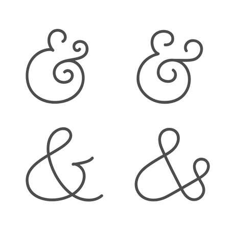 Four elegant and stylish custom ampersands for wedding invitation or business card  Vector illustration Vector